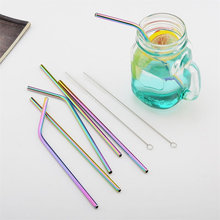 Reusable 6mm Rainbow Metal Straw For 20oz Cups Stainless Ste