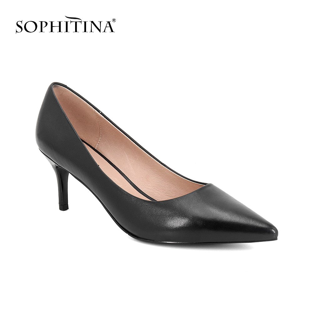 SOPHITINA 2019 Women s Pumps Career Sheepskin Slip On Pointed Toe High Thin Heel Solid Shoes
