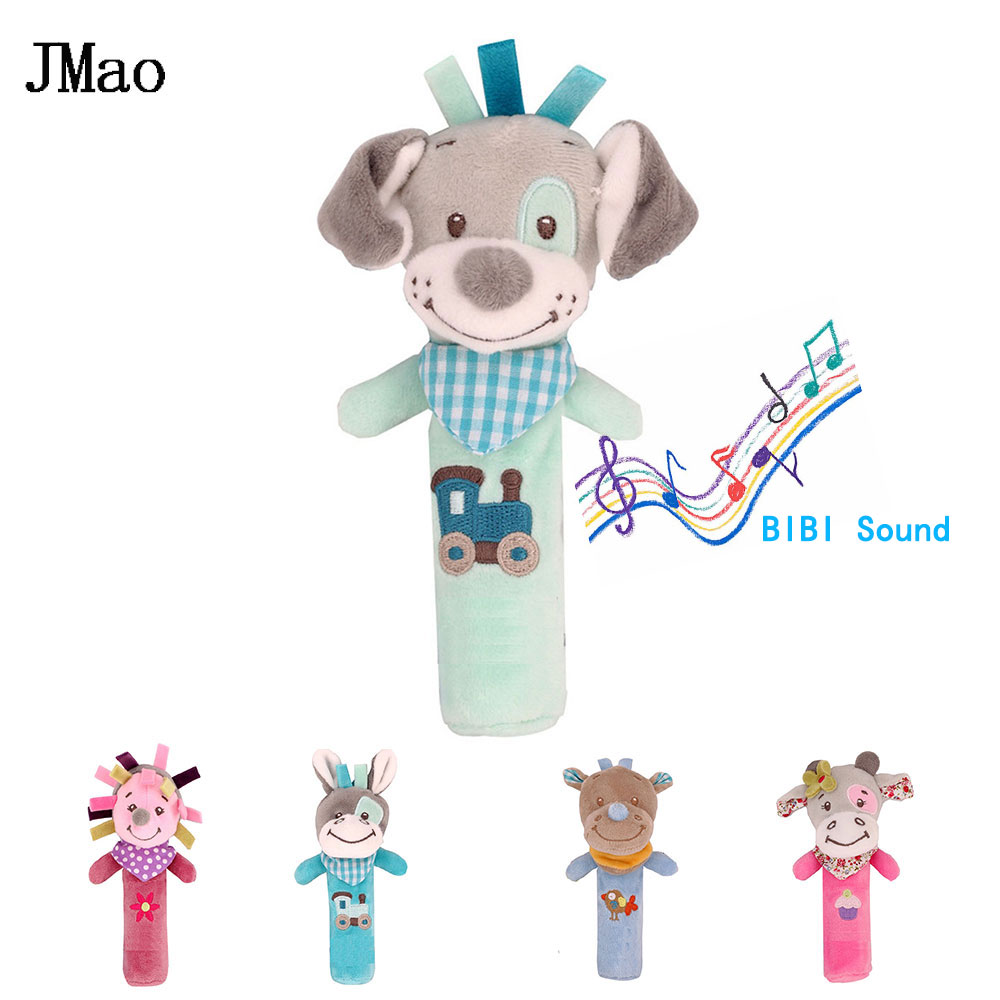 JMao Cute Rattles Cartoon Animal Toys For Baby Plush Mobile Rattle Bibi Sound Soft Baby Toys 0-12 Months Puppy Lovely Gift