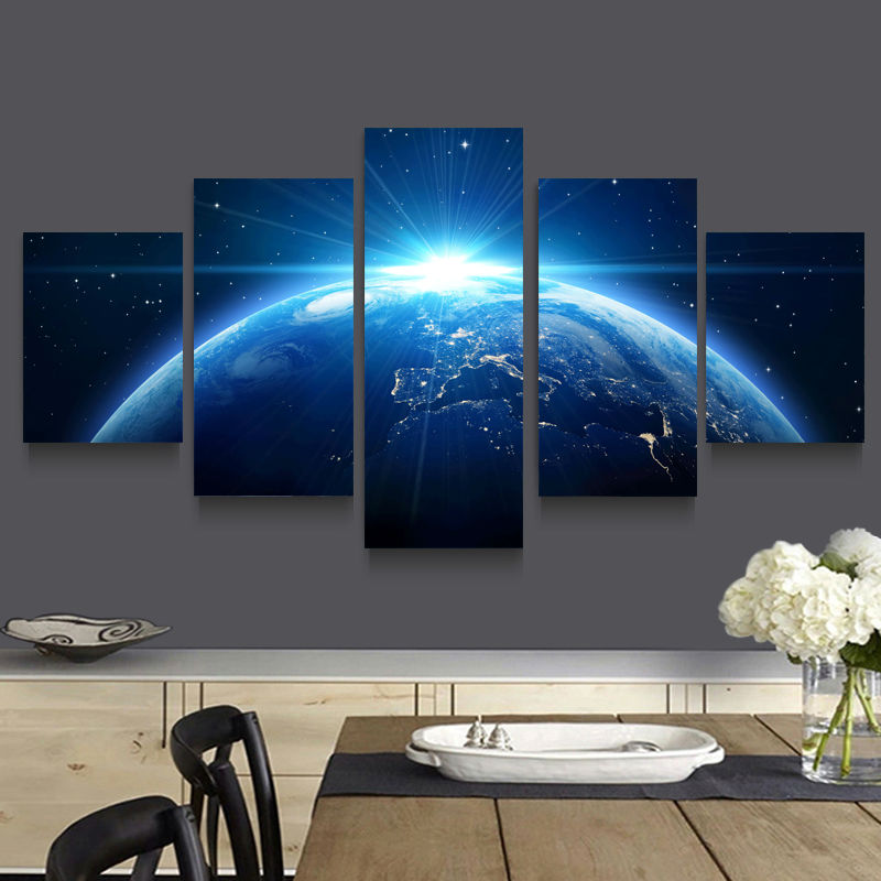hd print 5 pcs theme half conscious space canvas wall art. Black Bedroom Furniture Sets. Home Design Ideas