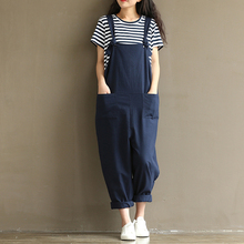 2018 Summer Rompers Womens Jumpsuit 5XL 4XL 3XL Plus Size Overalls Cotton Linen Long Pants Dungarees Black Casual Loose Trousers