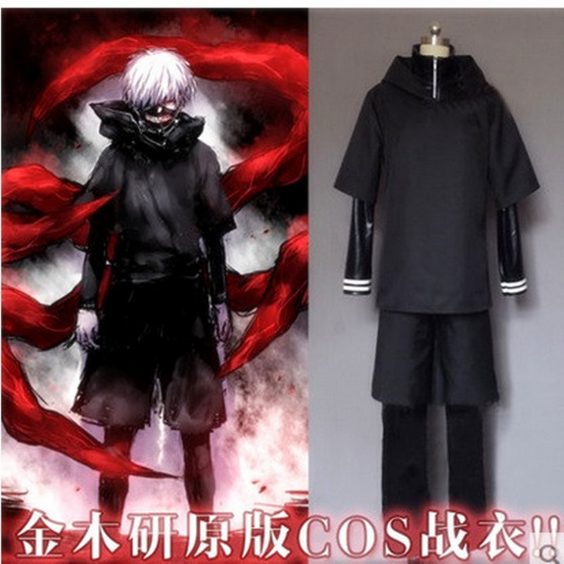 2016 Hot Japanese Anime Tokyo Ghoul Cosplay Kaneki Ken Cosplay Halloween Costumes (Leather /Leather Pants /Hoodie /Short pants )
