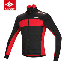 Santic Mens Breathable Quick Dry Cycling Jerseys Long Sleeve Fleece MTB Road Bike Jacket Windproof Warm Thermal Bicycle Clothing