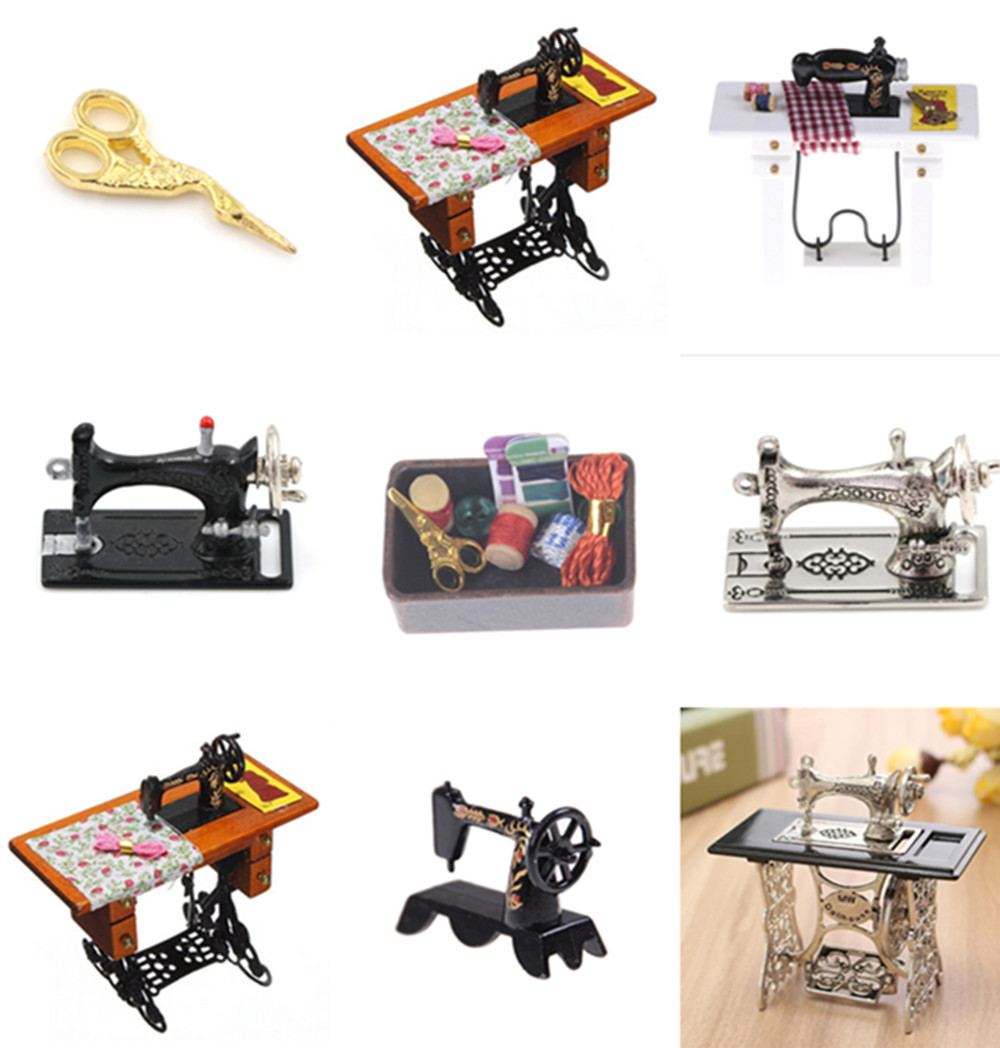 Dollhouse Black Sewing Machine Toys Doll House Miniatures 1:12 Accessories Toys Gift For Kids Child Girls
