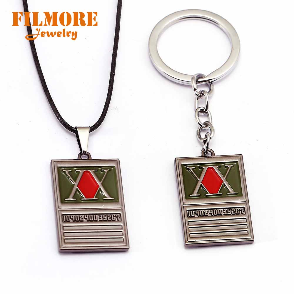 Hunter X Hunter Necklace Cross Metal Pendant Rope Chain Necklaces Women Men Charm Gifts Japanese Anime Jewelry
