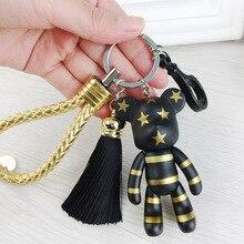 New Leather Tassel Gloomy Bear Keychain Trinket Men Batman Keyring Women Bag Charm Spiderman Car Key Chain Jewelry Gift цена и фото
