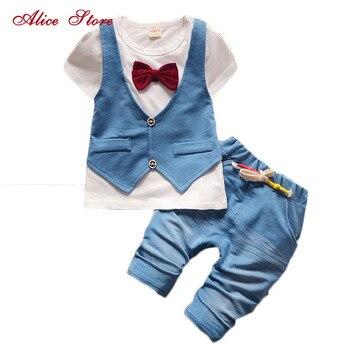цена на 2018 Summer Cotton Baby Boys Clothing Set Children Vest Fake Two Jacket Shirt + Shorts Set Kids Casual Summer Clothes Set Suits