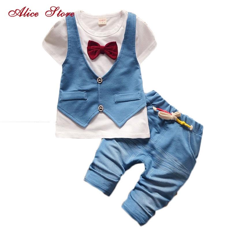 2018 Summer Cotton Baby Boys Clothing Set Children Vest Fake Two Jacket Shirt + Shorts Set Kids Casual Summer Clothes Set Suits