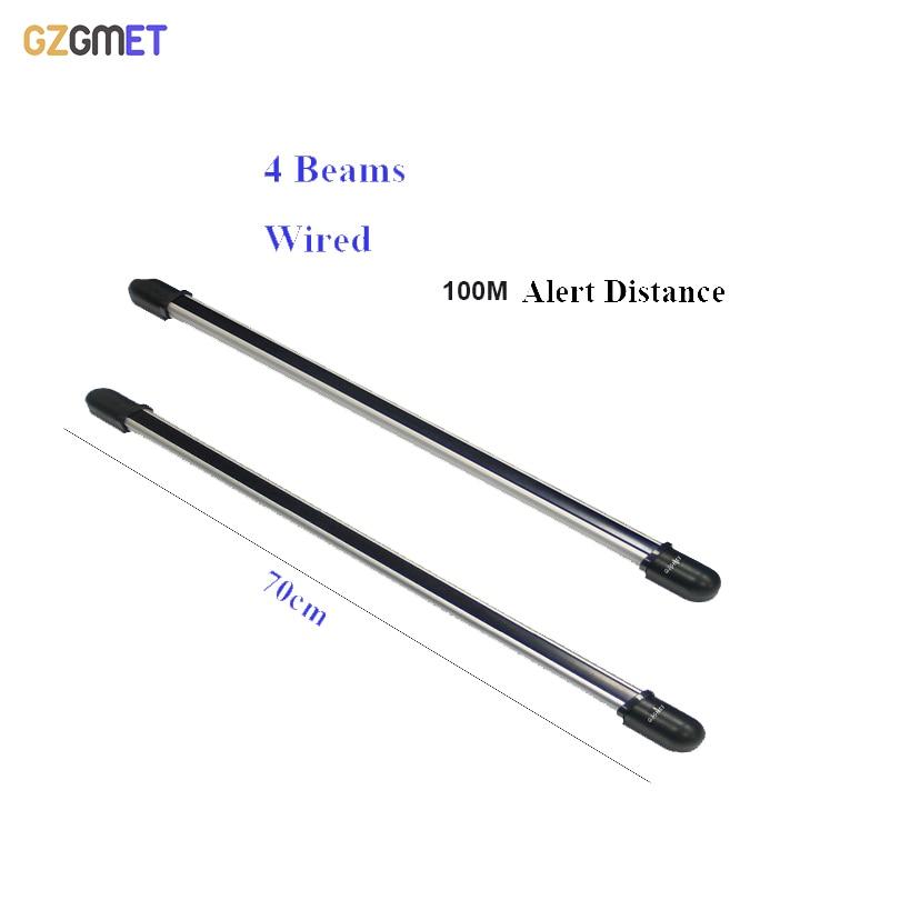 цена на 100m Wired Sensor Alarm 4 Beam Infrared IR Barrier Detector Security System Fence Sensor Photoelectric Beam