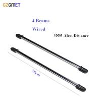 100m Wired Sensor Alarm 4 Beam Infrared IR Barrier Detector Security System Fence Sensor Photoelectric Beam