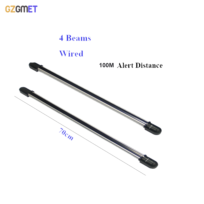 100m Wired Sensor font b Alarm b font 4 Beam Infrared IR Barrier Detector Security System