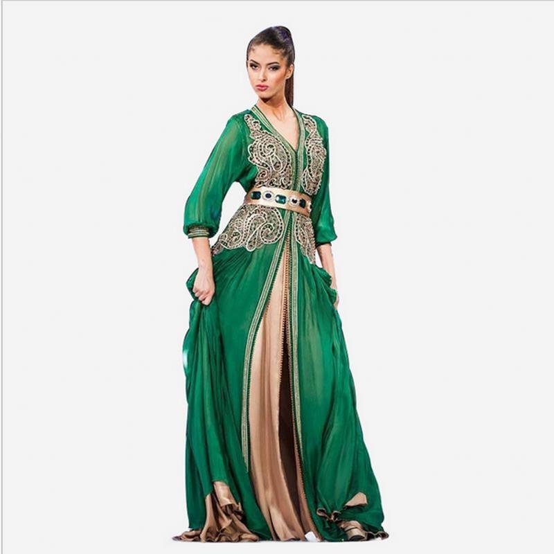 Sexy V Neck Long Sleeve Green Chiffon Beaded Lace Arabic