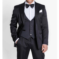 Black Single Breasted Business Men Suits Peaked Lapel Three Piece Custom Made Wedding Tuxedos New Jacket