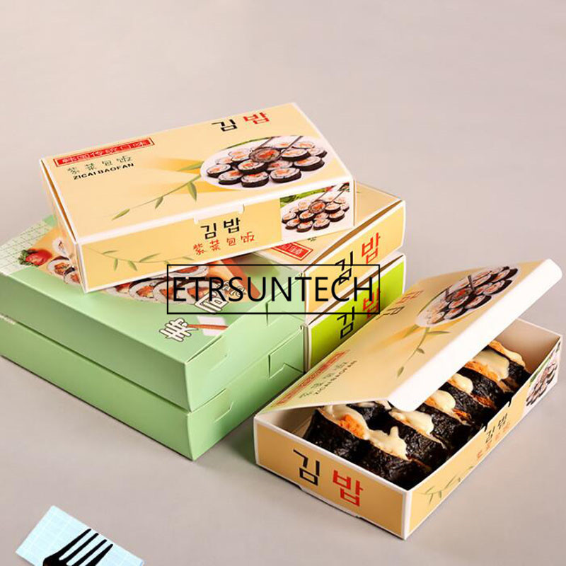 300pcs Sushi Box Disposable Gimbap Paper Packing Box For Restaurant Shop Food Wrapping Boxes Take-out Container take-out food