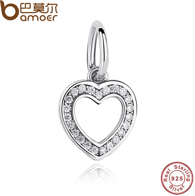Gift 925 Sterling Silver Symbol Of Love Clear Cz Heart Crystals
