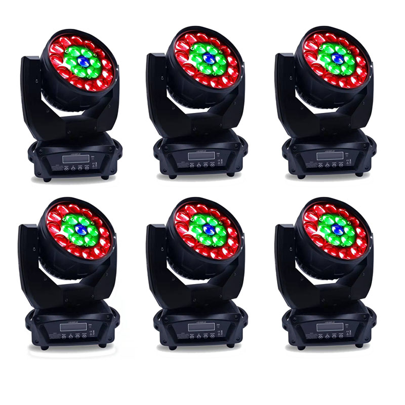 6 шт./лот Led moving head 19x15 Вт zoom rgbw 4 в 1 moving head lyre stage light