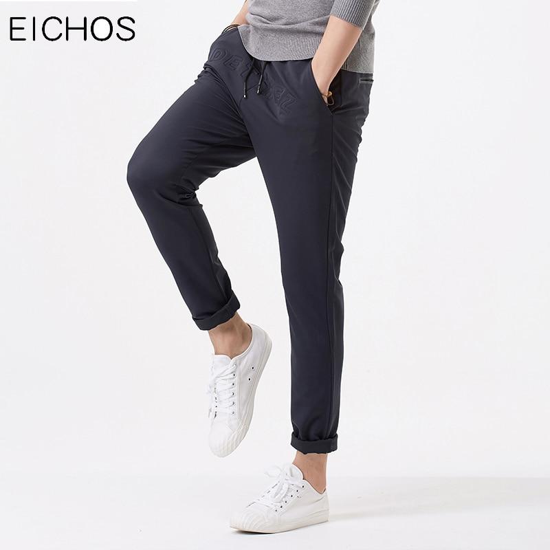 EICHOS New Fashion Letter Pants Men Trousers Casual Soft Elastic Waist Joggers 2018 Hip Hop Pants Pure Color Sweatpants