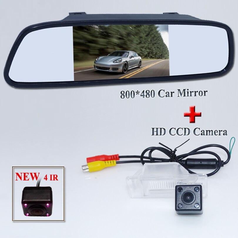 2in1 CCD vue arrière de voiture parking caméra pour NISSAN QASHQAI X-TRAIL Geniss Ensoleillé Pathfinder Dualis Navara Juke + miroir de voiture moniteur