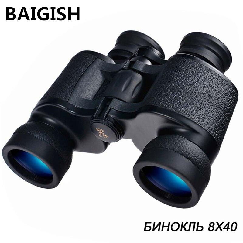 BAIGISH HD 8X40 Binoculars Powerful Zoom Russian Military Telescope Professional Waterproof lll Night Vision binocular Hunting