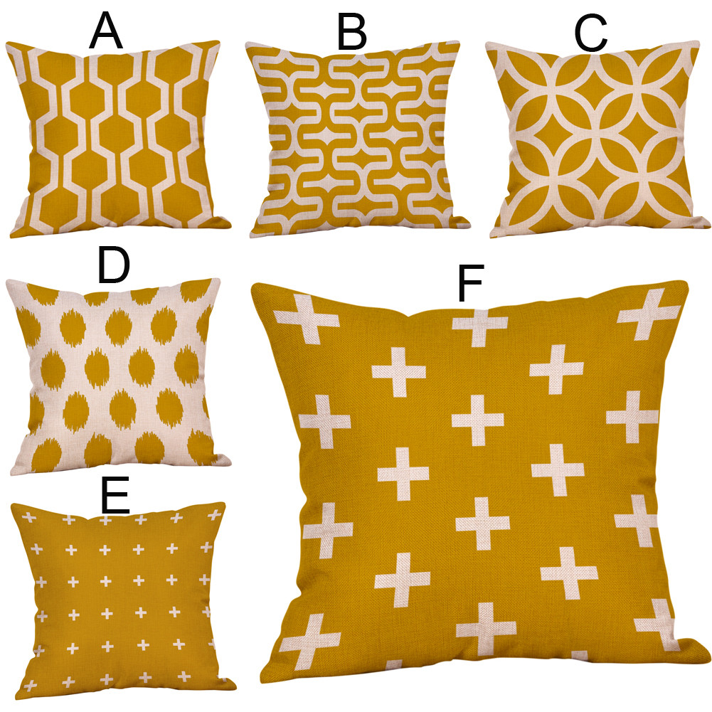 Cushion Cover Home & Garden Diamond Geometric Pillow Case Mustard Yellow Pillow Cover Modern Fall Autumn Cushion Cover For Sofa Home Decoration 45x45cm