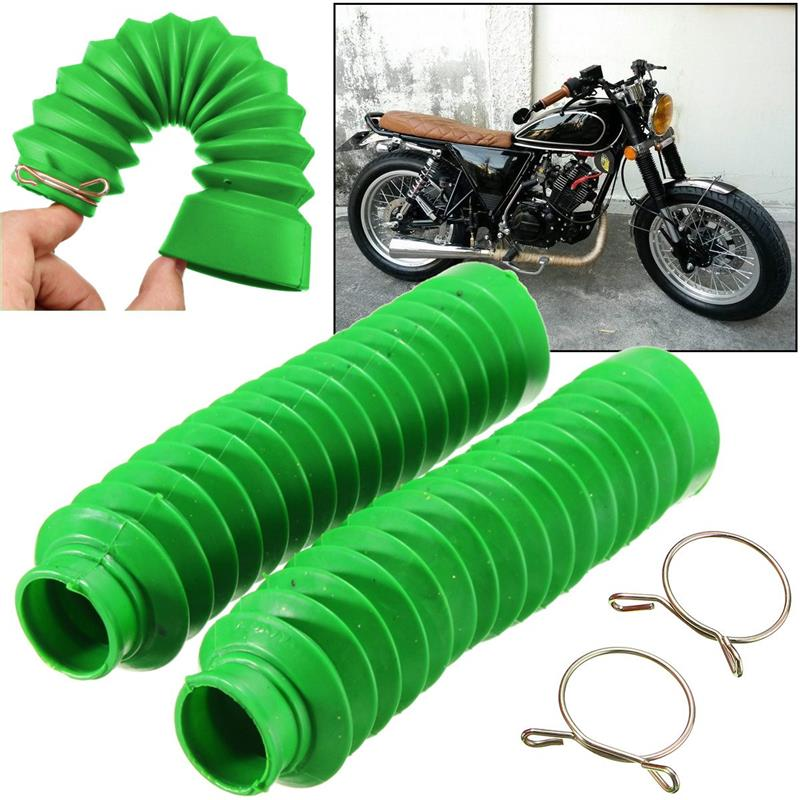 1 Pair Universal Motorcycle Rubber Front Fork Cover Shock Absorbing Protecting Gaiters Boot Gaitor-Black