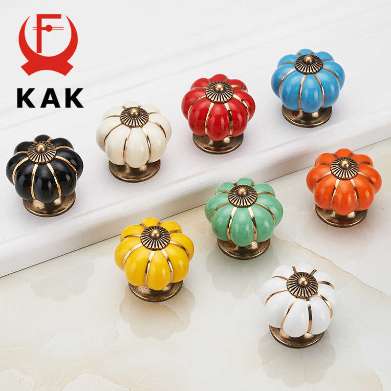 KAK Pumpkin Ceramic Handles 40mm Drawer Knobs Cupboard Door Handles Single Hole Cabinet Handles with screws Furniture Handles