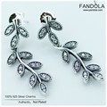 Sparkling Leaves Earrings 100% 925 Sterling-Silver-Jewelry Stud Earring for Women Free Shipping