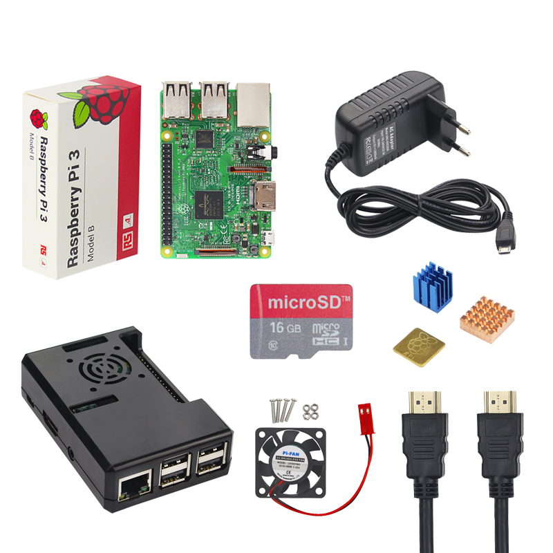 Raspberry Pi Starter Kit Raspberry Pi 3 Model B + ABS Case + 16 G TF Card + 3A Power Adapter + Fan + Heat Sink + HDMI Cable 10 in 1 raspberry pi 3 abs case 8gb sd card gpio adapter 2pcs heat sink hdmi cable 2 5a power adapter with switch cable for pi 3
