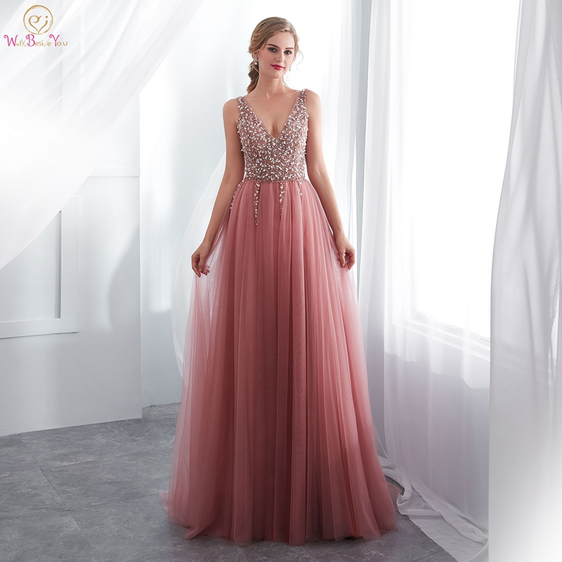 Pink Evening Dress 2019 Hot Sale Style Beading Sequined Top High Split Leg Sexy For Women