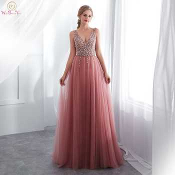 Pink Evening Dress 2019 Hot Sale Style Beading Sequined Top High Split Leg Sexy For Women Tulle Sweep Train Sleeveless Prom Gown - DISCOUNT ITEM  39% OFF All Category