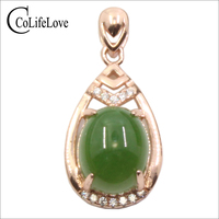 CoLife Jewelry Chinese Style Green Jade Pendant for Woman 8mm*10mm AAA Grade Jade Silver Pendant Solid 925 Silver Jade Jewelry