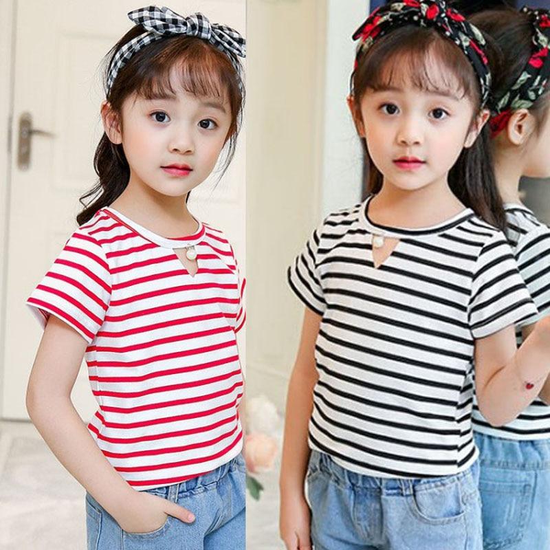 cotton summer children tops toddler girls t-shirts summer 2018 red black striped kids clothes girls short sleeves tshirts tees