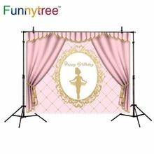 Funnytree fundos para estúdio de fotografia quadro rosa de aniversário da menina Ballet profissional pano de fundo foto prop impresso