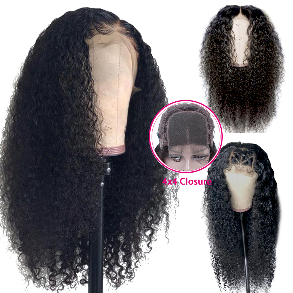4*4 Lace Closure Human Hair Wigs Pre Plucked Hairline Brazilian Kinky Curly Lace Closure Human Hair Wigs With Baby Hair QUEEN