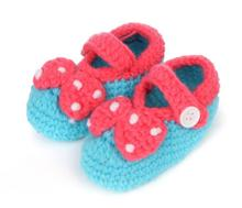 1 Pair New lovely princess soft baby girls bowknot dot hand knitting toddler shoes children's crib shoes 11cm