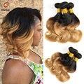 Moda curto Ombre onda do corpo do cabelo virgem empacota 3 pçs/lote curto atacado feixes de cabelo Ombre 1b/27 cabelo ombre Bob extensões