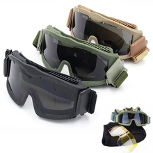 Army Combat Tactical Military Goggles Anti-fog Bulletproof Airsoft Glasses Paintball Game 3 Lens Sport Shooting Eyewear