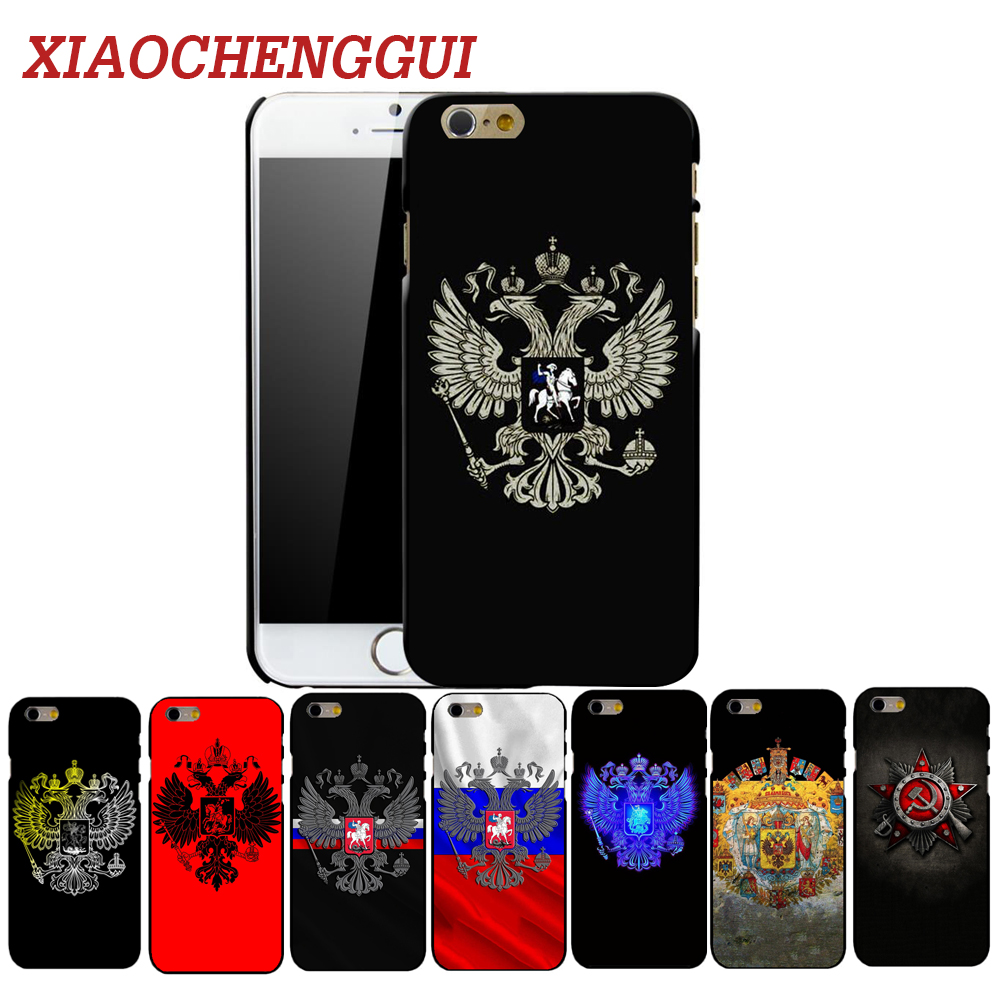 XIAOCHENGGUI Russian Emblem Phone Hard Plastic <font><b>Case</b></font> Cover For <font><b>iphone</b></font> 4 4s 5s 5 SE 6 6s 8 6/7/8 plus <font><b>X</b></font> <font><b>XS</b></font> XR <font><b>XS</b></font> Max <font><b>case</b></font> image