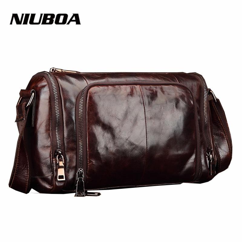100% Genuine Cowhide Leather Bags Casual Shoulder Handbags Man Pillow Messenger Bag Mens Travel Bags High Quality Business Bags
