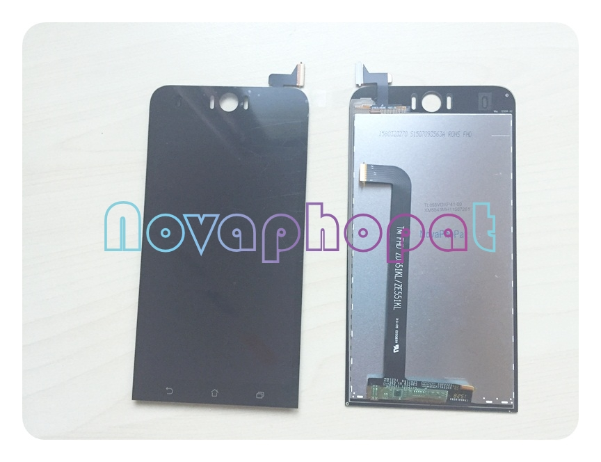Novaphopat Black Screen For <font><b>ASUS</b></font> <font><b>Zenfone</b></font> <font><b>Selfie</b></font> <font><b>ZD551KL</b></font> <font><b>LCD</b></font> Display Touch Screen Digitizer Full Assembly Replacement image