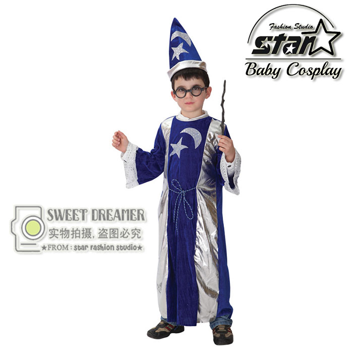 Halloween Baby Kids Clothing Costumes Boys Girls Masquerade Party Clothes With Hat Enchanter Cosplay Children Wizard Wear купить