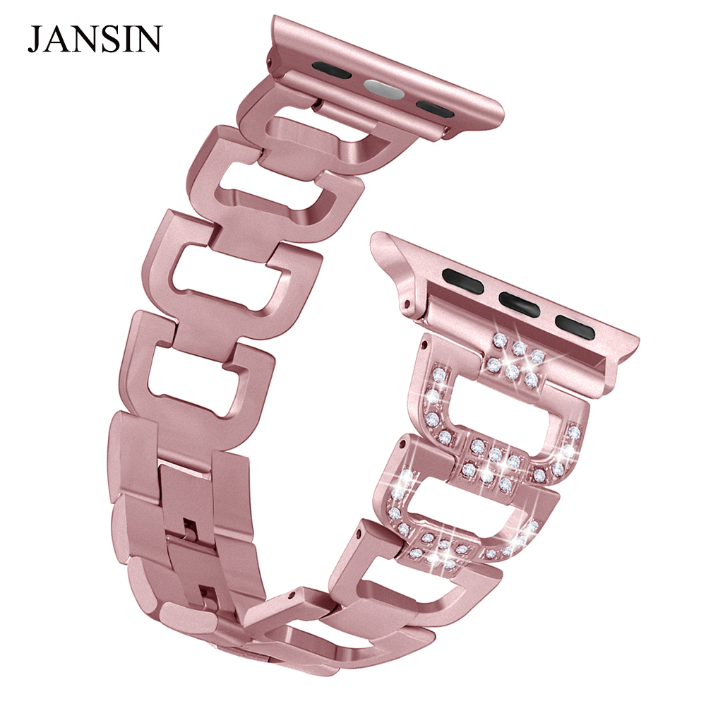 JANSIN women Diamond watch strap for apple watch band 42mm 38mm 40mm 44mm stainless steel Link bracelet for iwatch series 4 3 2 jansin strap band for apple watch 40mm 44mm 42mm 38mm for iwatch 3 2 1 stainless steel watch band link bracelet watchband strap