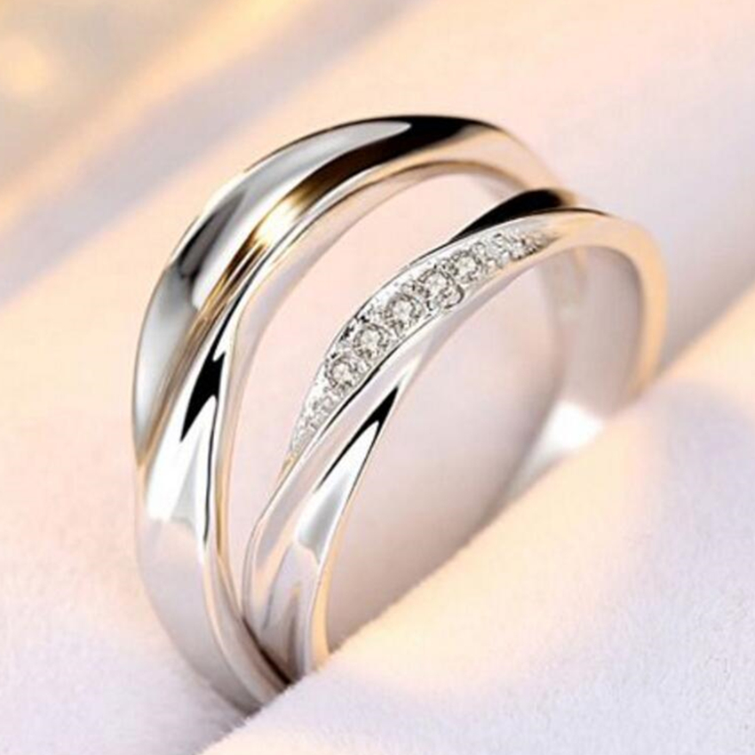 Nehzy Wedding Ring Couple R Ring Simple Ultra Flash Crystal Love