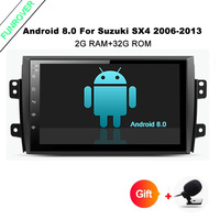 Funrover 9 ''HD 4 ядра Оперативная память 2 г Android 8,0 автомобильный навигатор gps плеер для Suzuki SX4 2006 2013 wi Fi RDS радио BT FM USB No DVD