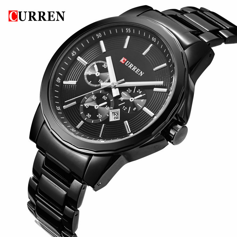 CURREN Mens Watches Top Brand Luxury Black Stainless Steel Analog Quartz Watch Men Fashion Wristwatch Male Sport Clock Relogios 2016 curren tag brand fashion men sport analog watches men s quartz clock male casual full stainless steel military wrist watch