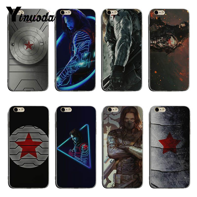 Yinuoda Captain America Civil War Winter Soldier Novelty Fundas Phone Case Cover For Iphone 5 5sx 6 7 7plus 8 8plus X Xs Max Xr Half-wrapped Case