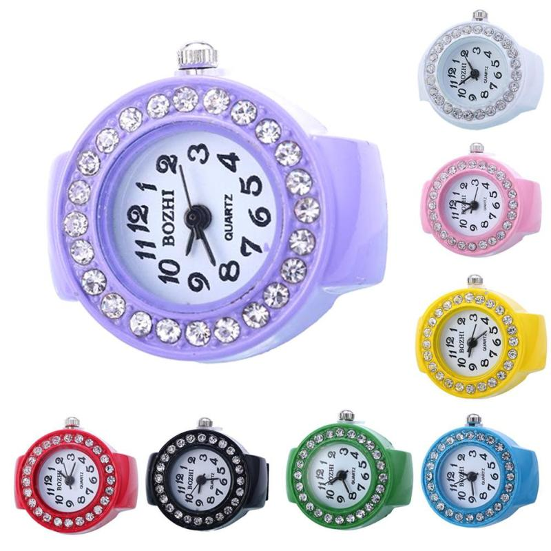 1pc Multicolor new style Fashion Ladies Girl rhinestone Round Elastic Quartz Finger Ring Watches Trendy Gifts compass hot S4