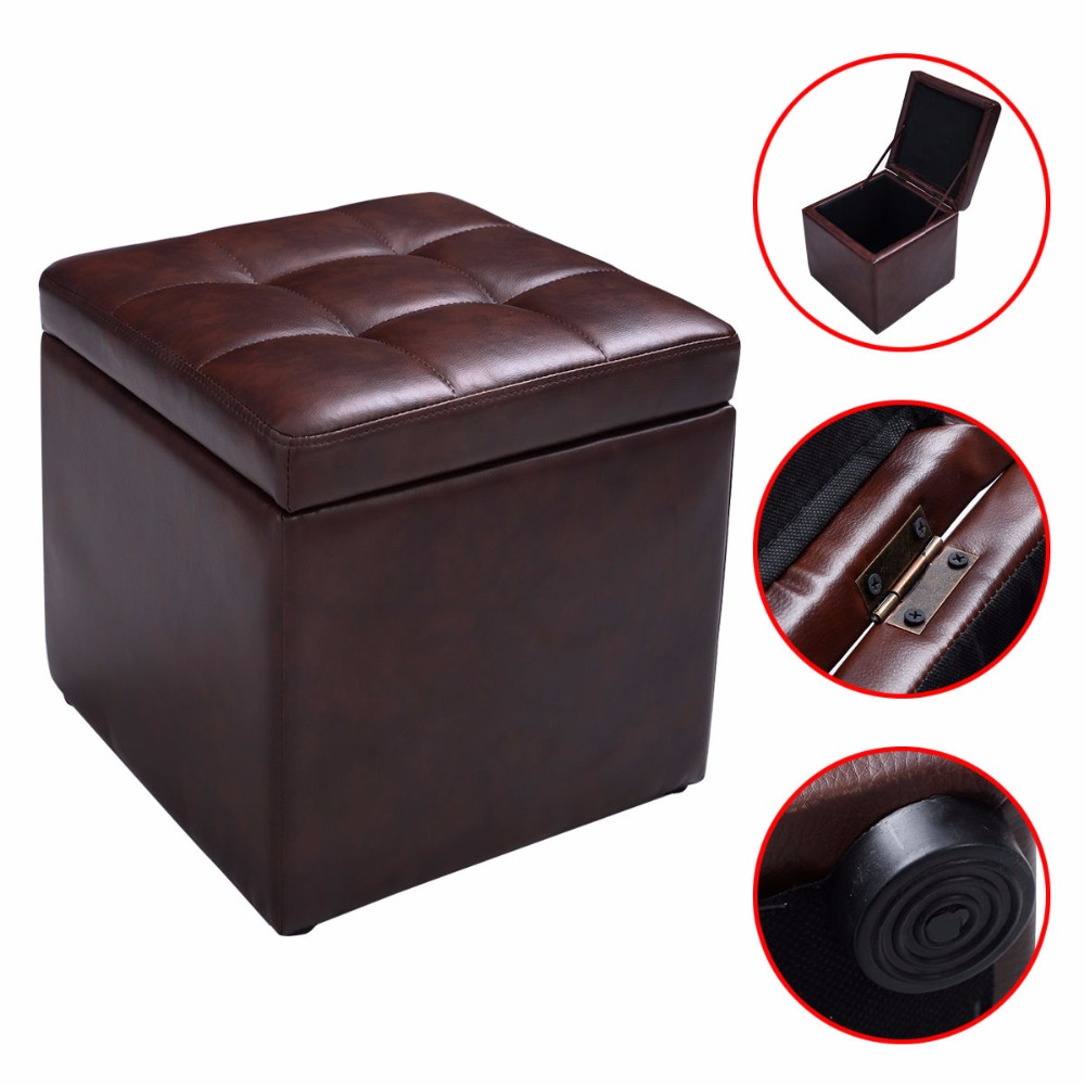 Cube Ottoman Pouffe Storage Box Lounge Seat Footstools with Hinge Top Brown  HW47908BN - Leather Storage Cube Promotion-Shop For Promotional Leather