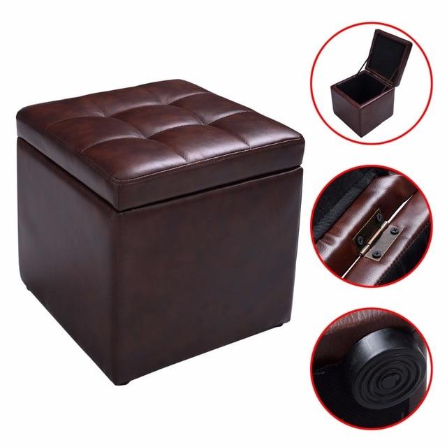 Cubo otomana PUF almacenamiento salón asiento reposapiés con bisagra ...