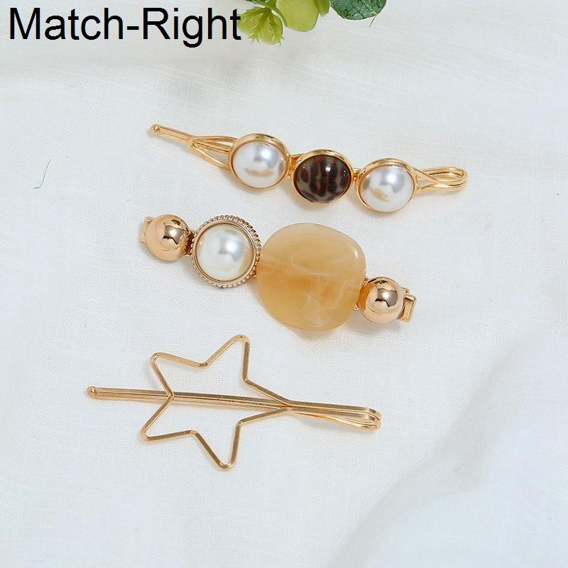 Match-Right 3Pcs/Set Pearl Metal Hair Clip Barrette Comb Bobby Pin Hairband Hairpin Headdress Styling Hair Accessories KK294